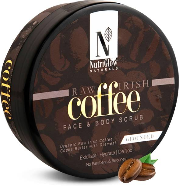 NutriGlow NATURAL'S Raw Irish COFFEE Face & Body Scrub With Coffee and Cocoa Butter for Hydrating and Detox Skin Scrub