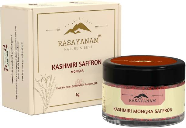 Rasayanam Pure Kashmiri Mongra Saffron/ Kesar | Tested Grade A1 as per ISO 3632 | From the finest farmland of Pampore, J&K