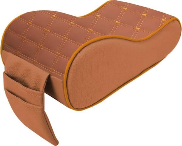 AutoFurnish 7D Premium Car PU Leather Memory Foam Center Console Armrest with Pocket (Tan Tan) Car Armrest