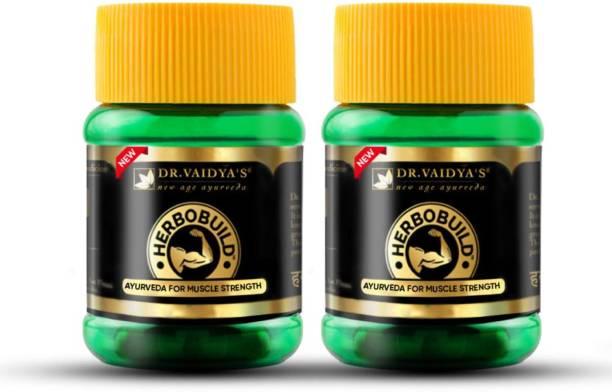 Dr. Vaidya's Herbobuild -Ayurvedic Capsules for Muscle Gain - Pack of 2