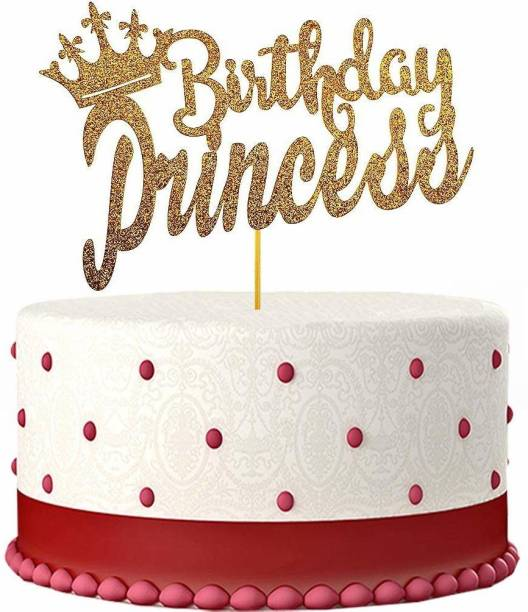 ZYOZI Happy Birthday Cake Topper for Princess Birthday Party Decorations,Gold Glitter Edible Cake Topper