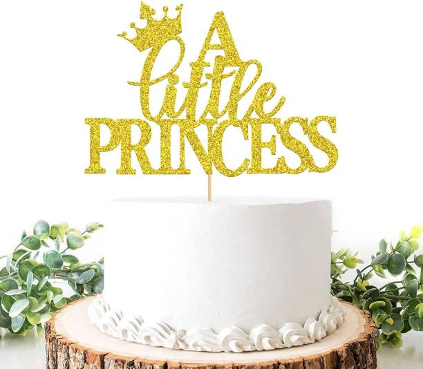 ZYOZI A Little Princess Cake Topper, Baby Shower Cake Decoration, Girl First Birthday Party Décor Supplies - Gold Glitter Edible Cake Topper