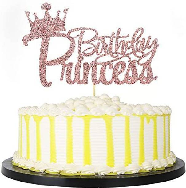 ZYOZI Princess Birthday Party Cake Topper - Crown Girl Theme Baby Shower Birthday Party Cake Decoration Supplies (Rose Gold) Edible Cake Topper