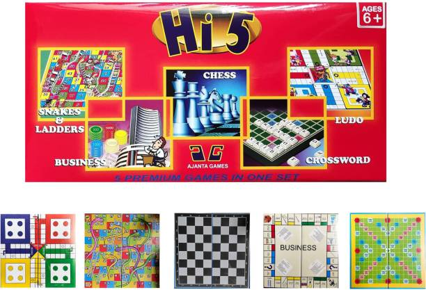 Ajanta Games Hi-5 , five premium games combo in one set ( Snakes & ladders+ Business+ Chess+ Crossword Scrabble+ Ludo) Word Games Board Game