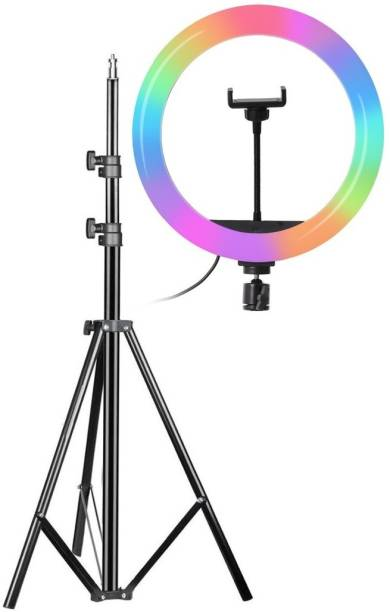 Alchiko 2.1 Big Tripod With Best Quality RGB 10 Inch Big Ring Light Adjustable Brightness Best Quality Portable Foldable Umbrella Flash Light Stand Compatible With All Smartphones & Cameras, For Live Streaming, Make up, Video Conference, Online Classes 2500 lx Camera LED Light