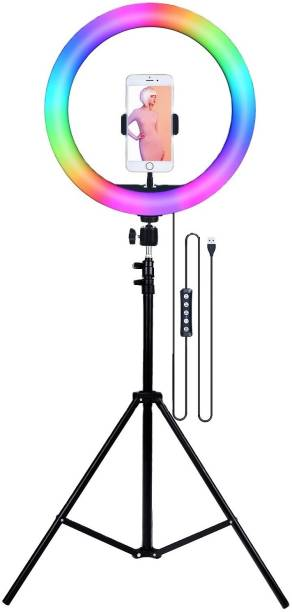 Alchiko 2.1 Tripod Portable With RGB 10 Inch Big LED Selfie Ring Light for All Smartphone to Capture Your Photo and Video with Long Stand for Live Streaming, LED Makeup, Video Conference, Online Classes 2500 lx Camera LED Light