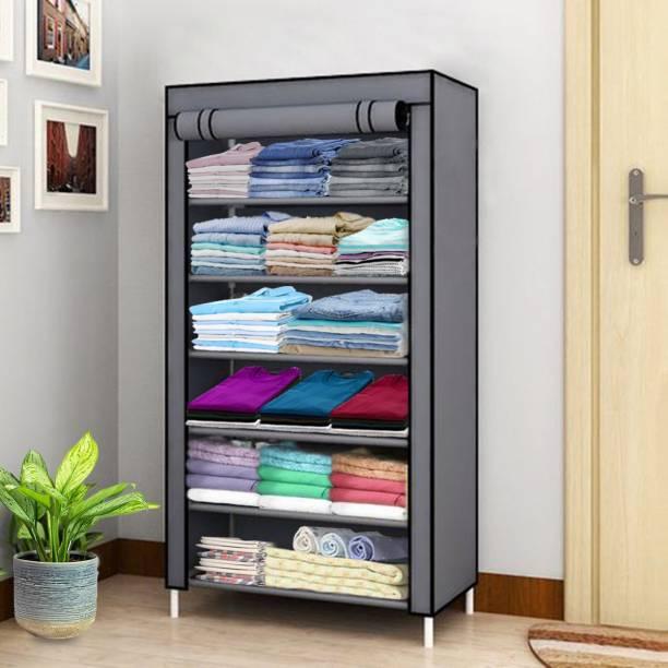 Lacossi 1 Door 6 Shelf Fabric PP Carbon Steel Collapsible Wardrobe