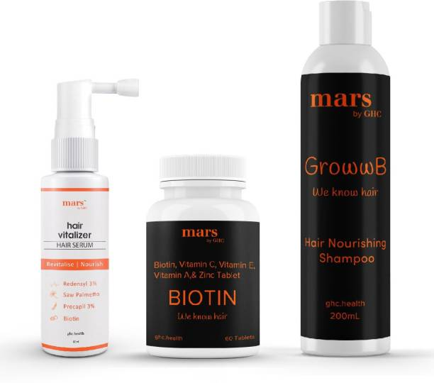 mars by GHC Hair Growth Vitalizer With Redensyl (60ml), Anti Dandruff Shampoo (200ml) & Biotin Tablets For Hair Growth