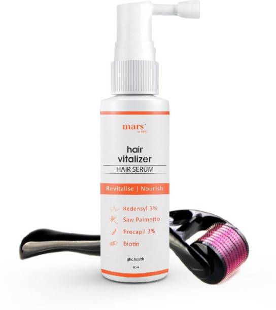mars by GHC Hair Growth Vitalizer With Redensyl (60ml) & 0.5mm Derma Roller For Hair Growth