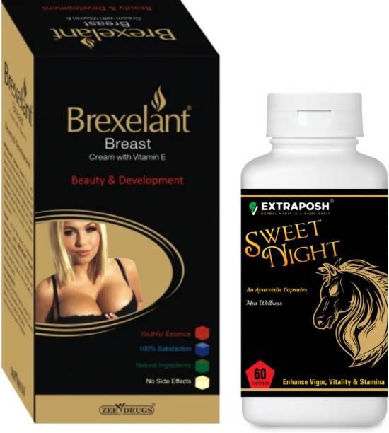 Extraposh Sweet night Capsules - Men Sex Power Capsules + Brexelant Breast Enhancement Cream
