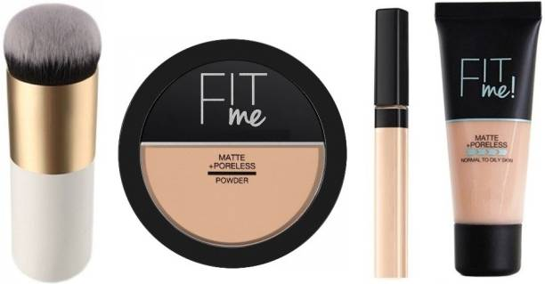 Wiffy PROFECSSIONAL MAKEUP COMBO KIT FIT ME MATTE+PORELESS LIQUID TUBE FOUNDATION. FIT ME PRESSED POWDER COMPACT ( CAPPUCCINO, 8.5 G ) AND FIT ME CONCEALER (36 GOLDEN CARAMEL, 6.8 ML). MAKEUP COSMETIC FACE POWDER, FOUNDATION/BLUSH BRUSH(WHT) BEST BEAUTY MAKEUP