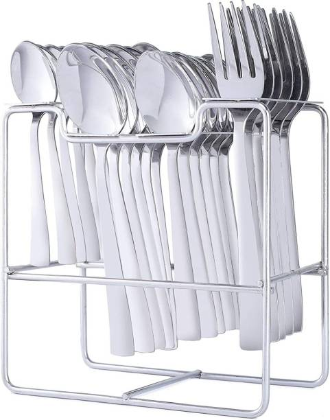 LEVOLT Stainless Steel Cutlery Set - Set of 25 (Contains: 6 Desert Spoon, 6 Master Spoons, 6 Tea Spoons, 6 Desert Forks, Mirror Finish; Thickness: 1.6 mm - Silver Stainless Steel Cutlery Set