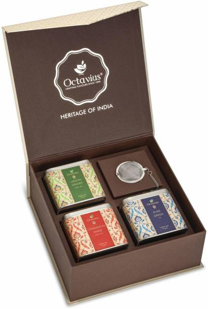 Octavius Heritage of India Tea Collection | Classic Antioxidant Burst | Festive Gift Box | 3 Exotic Loose Leaf Green Tea Blends - Cinnamon Anise, Pure Green & Lemon Ginger | With Infuser Combo