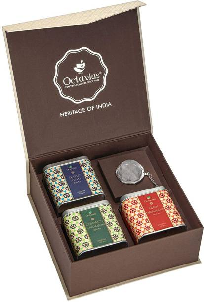 Octavius Heritage of India Tea Collection | Fine Indian Black Teas | Festive Gift Box | 3 Exotic Loose Leaf Black Tea Blends - Classic Assam, Cinnamon Cardamom & Indian Masala | With Infuse Combo