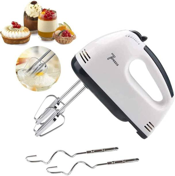 KRZZHNA Electric Hand Mixer ,food Hand Blender , Egg Beater, Cake maker and cream mix, Beater Cream Mix, Food Blender, Hand mixer , Beater for Kitchen With Stainless Steel Attachments, 7 speed , Includes; Beaters, Dough Hooks, white. Mixer Blender Blade