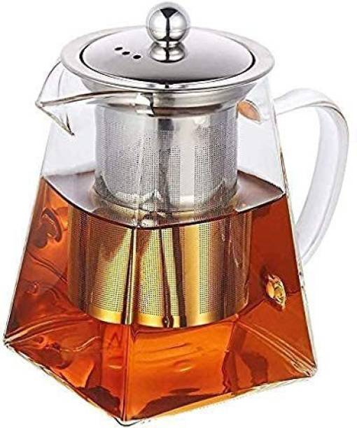 HOMACE 0.55 L Kettle Glass Tea Kettle Heat Resistant Tea Pot with Stainless Steel Infuser Strainer for Coffee Juice Loose Leaf Tea Pitcher