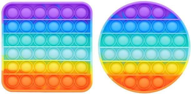 JIALTO Pop It Fidget Toys,Push Pop Bubble Fidget Sensory Toy,Autism Special Needs Silicone Stress Relief Toy,Great Fidget Toy Sensory Toys Novelty Gifts (Square Rainbow & Round Rainbow)