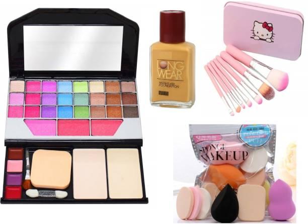 teayason Color Icon Makeup Kit for Girls + Premium Makeup Brushes + 6 Piece Makeup Sponges + Fit Me Liquid Foundation