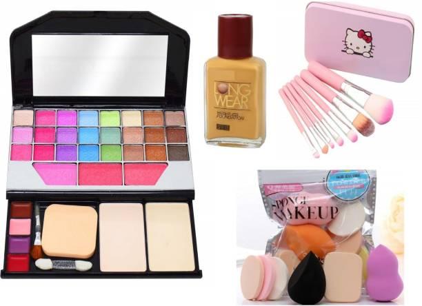 MY TYA Fashion Makeup Kit for Girls + Premium Makeup Brushes + 6 Piece Makeup Sponges + Fit Me Liquid Foundation