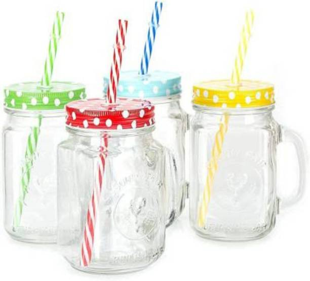Hapus Glass Mason Frosty Jar with Handle, Regular Mouth, Colorful Metal Lid and Reusable Matching Straw, Transparent Juice Jar for Juice/Mocktail/Shakes/Drinks Etc (450 ml) (PACK OF 2) Glass Mason Jar