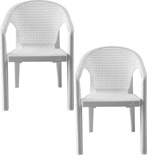 Binani BINANI Italica 5202 Oxy Series Modern Stackable Plastic Armchairs for Outdoor, Home, Office & Garden (Set of 2Pc,White) Plastic Outdoor Chair