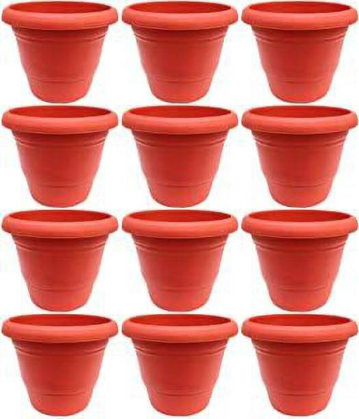 Ramanuj (pack of 12) 9 inches High Quality Gardening Flower Pots-9 Inch Round Garden Plastic Planters Pack of 12 Plant Container Set (Pack of 12, Plastic)for indoor/outdoor gardening,flowering in balcony,garden and terrace Plant Container Set