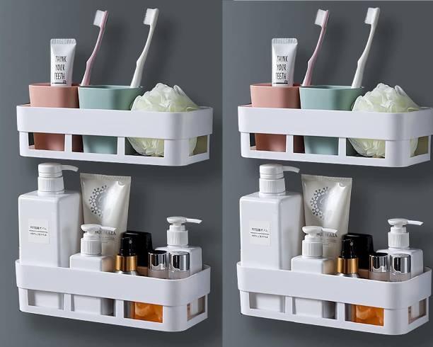 YIXTY Plastic Kitchen Hanging Shelf Storage Rack Self Adhesive Traceless Rectangular Box Waterproof Kitchen Bathroom Shelves and Soap Stand Holder Organizer (2 Bathroom Shelves+ 2 Soap Box)