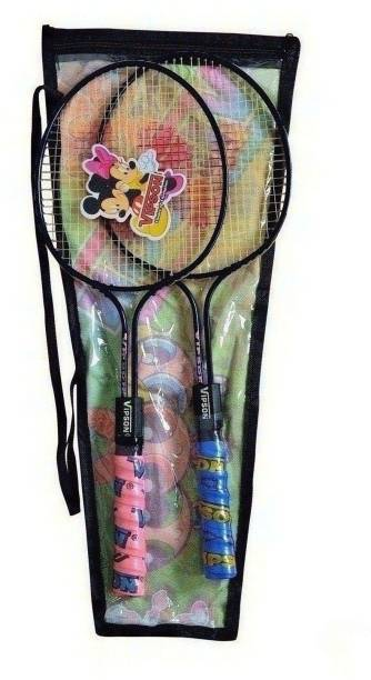 vipson Double Rod Light Weight Badminton Racquet Pair For Kids 3 To 8 Years Multicolor Strung Badminton Racquet