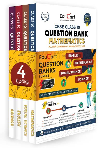 Educart Question Bank Class 10 Of CBSE Maths, Science, SST & English (All In One Combo) For 2022