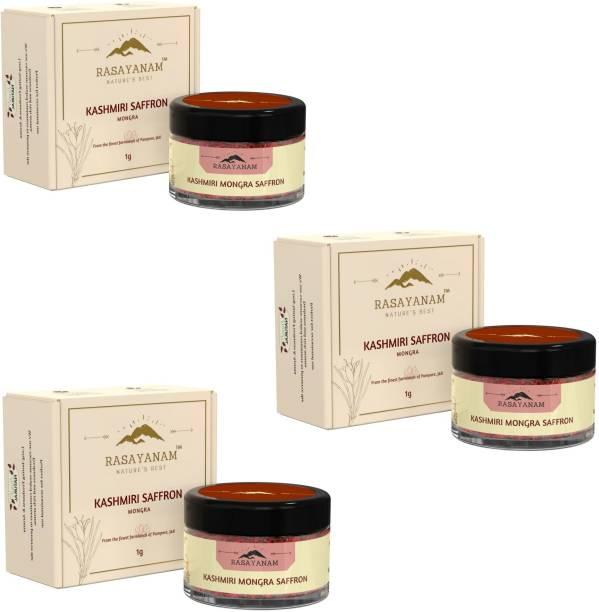 Rasayanam Pure Kashmiri Mongra Saffron/ Kesar - PACK OF 3| Tested Grade 1 as per ISO 3632 | From the finest farmland of Pampore, J&K