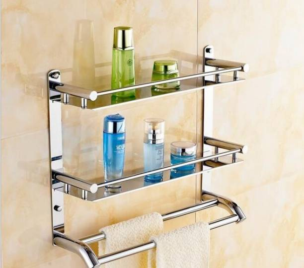 VANSI Stainless Steel Multi-use Rack / Bathroom Shelf / Kitchen Shelf / Bathroom Stand / Bathroom Rod / Bathroom Accessories Stainless Steel Wall Shelf (Number of Shelves - 2, Silver) Silver Towel Holder Silver Towel Holder