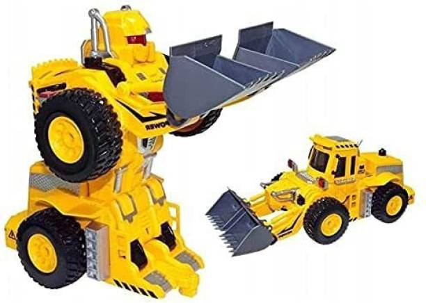 EVURAAJ ENTERPRISE Bulldozer Robot Transformer Converting Excavator Tractor with Remote Control and USB Charger Lights Up with Flashing Lights Plays Music and Dances Fun Best Gift Kids Boys Girls