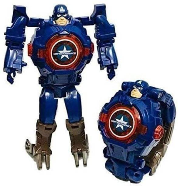 I&SONI Captain America Robot Toy Convert to Digital Wrist Watch for Kids Avengers Robot Deformation Watch