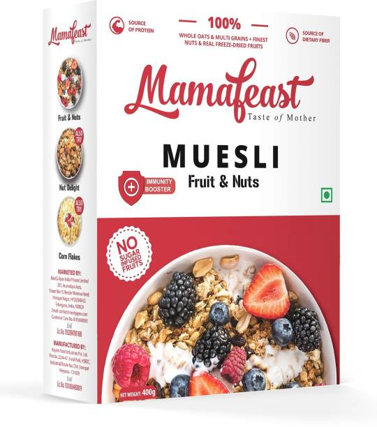 Mamafeast Muesli Fruit and Nut 400g, Breakfast Cereal , High in Iron, Source of Fibre , Naturally Cholesterol Free, Whole Oats & Whole Grain, Finest Nuts & Raisins, Freeze Dried Fruits, No Sugar Infused Fruits, Immunity Booster�(400 g, Box)