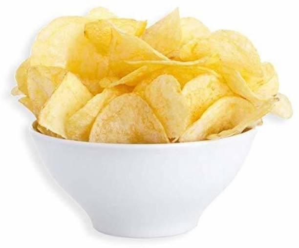 GO HUNGRY Home Made Raw Potato Chips - Dry Potato Chips Fryums (Crunchy, Thin) Aalu Ke Chips - Homemade Dry Kacchi Potato Chips - 900 g Chips