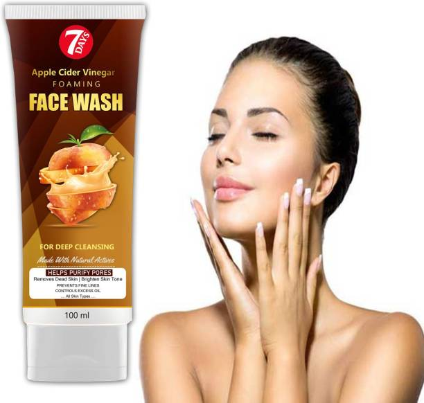 7 Days Apple Cider Vinegar Foaming 100G - No Parabens, Sulphate  For Deep Ceaning Acne & Pimples Face wash Made with Natural actives & vitamin c Face Wash