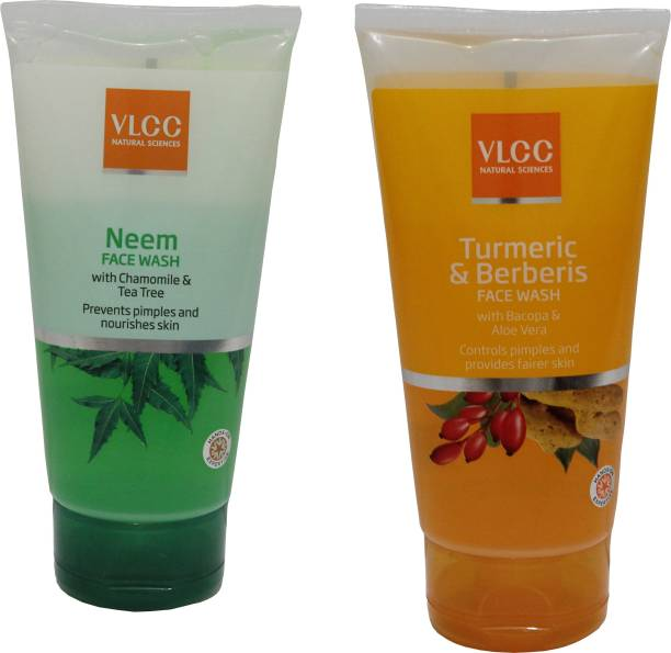 VLCC COMBO KIT OF NEEM & TURMERIC & BERBERIS FACE WASH (150ml*2) Face Wash
