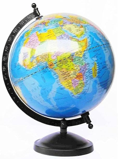 AMG Music Small Size Globe for Students 5 inch World Globe for Office Table Steel Arc Educational Political Map for Geography Students School Institutes and Home Décor Study Table Decor Desk & table top Political World Globe