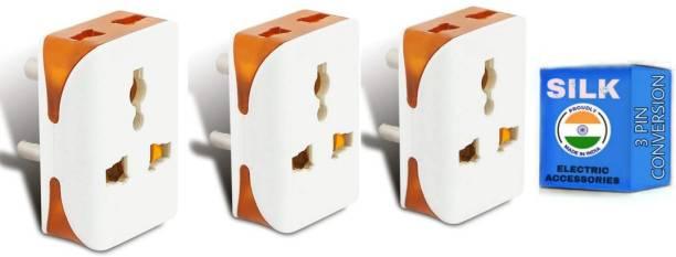 KAVANA 3-Pin Travel Plug Universal Socket Indian Plug (Type D HEAVY), Worldwide Travel Adaptor, Multi Plug, Conversion Plug (3pc) Worldwide Adaptor (White, Orange) Hose Connector