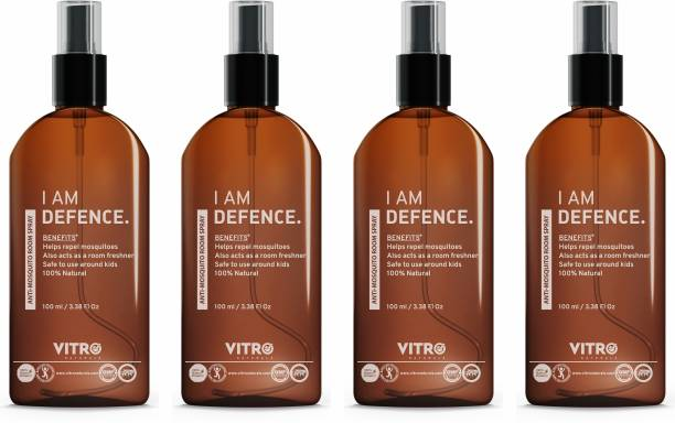 Vitro Naturals Mosquito Repellent Spray | 100% Natural | Non toxic | Eco Friendly I No side effect | Pack of 4