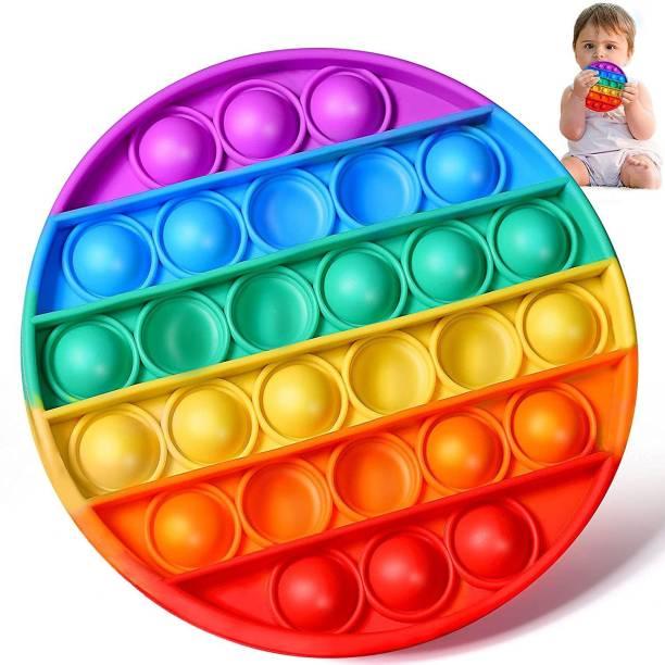VIBOTON Pop It Fidget Toys, Push Pop Bubble Fidget Sensory Toy,Autism Silicone Stress Relief Toy,Great Fidget Toy Sensory Toys Novelty Gifts for Girls Boys Kids Adults (Rainbow Round) Bath Toy