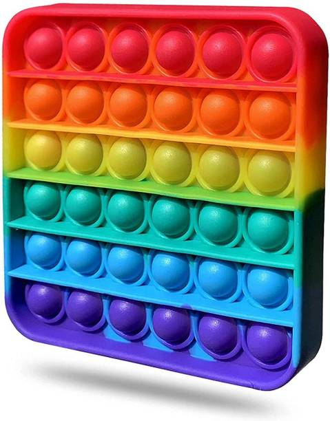 BONIRY Push Pop it Bubble Fidget Toy, Stress Relief and Anti-Anxiety Tools Sensory Toy for Autism to Relieve Stress for Kids and Adults (Square Rainbow)