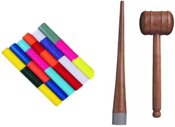 TITIKSHA Set Of 6Colourful Grips ,Cricket Bat Knocking Hammer with Handle Cone Wooden Bat Mallet