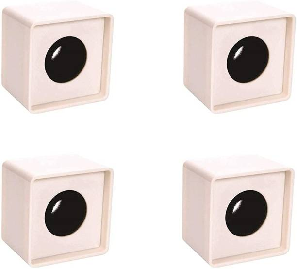 WON Branded ABS Injection Molding Square Cube Interview Mic Microphone Logo Flag Station Logo -White PACK OF 4 Holder