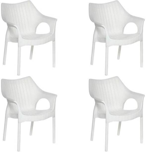 Supreme CAMBRIDGE MILKY WHITE SET OF 4 CHAIR FULLY COMFORT nd weight bearing capacity 200 kg outdoor chair Plastic Cafeteria Chair