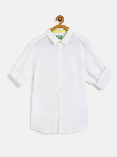 United Colors of Benetton Boys Solid Casual White Shirt