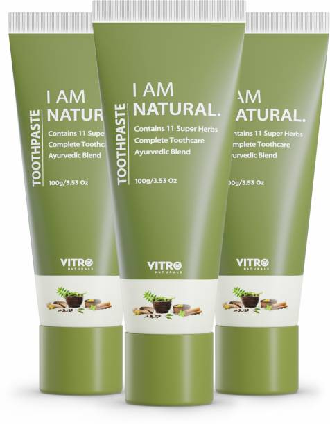 VITRO Tooth Care Toothpaste For Healthy Gums  Healthy Teeth   100% Natural   For Adults   Kids   Pack of 3   3x100g Toothpaste