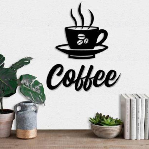 Dravin Craft Dravin Craft Coffee Cup MDF Plaque Painted Cutout Ready to Hang Home Décor Wall Art (Black)