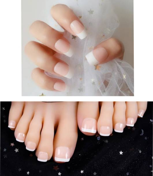 business venture 48 PC/Set COMBO OF hand and Toe nail tips Reusable Artificial with nail glue Nail/Nails . natural