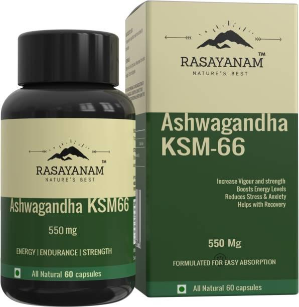 Rasayanam Ashwagandha KSM-66 (550 mg) | Extra Strength Natural Formulation | Support strength & energy | Withania Somnifera Extract - 60 Vegetarian Capsules